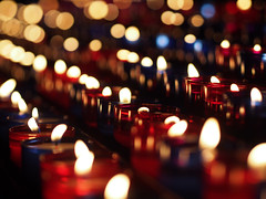 Candlelight Memories (DaveKav) Tags: light france reflection church candles candle olympus burning candlelight remembrance bayonne