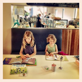 365/320 • finishing off our visit to the western districts at #Williamstown library • #2014_ig_320 #4yo #6yo #library #cafe