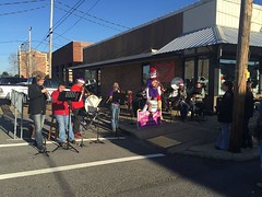 Bad Monkey Brass Band playing Christmas music in Antique Alley in Weat Monroe. Sponsored by the Gingerbread House Gift House.