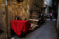 Red (FarCorner) Tags: street door old city red people man color classic yellow wall walking photography alley downtown photographer stack explore pile alleyway saudi arabia photowalk boxes jeddah discover albalad
