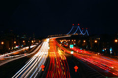A city always in motion (erice_dunn) Tags: nyc newyorkcity longexposure bridge newyork night lights nightshot traffic queens astoria nycnightshot rfkbridge robertfkennedybridge nqsubwaystation
