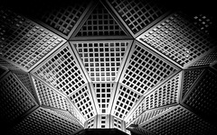 Inter Web (DobingDesign) Tags: city newyorkcity blackandwhite abstract geometric lines grid pattern unitedstates squares angles ceiling shoppingmall panels wallstreet facets linedup nikond7000