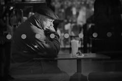 Something Stronger than Tea (michaelmendones) Tags: street london sad tea victoria starbucks thinking lonely