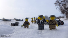 The war is over... (Rebla) Tags: world 2 snow outside this is war lego outdoor wwii jerry ardennes over battle tommy panasonic german ww2 british minifig forced fp lorraine bf 109 bulge prespective messerschmitt the luftwaffe battleofthebulge lx7 of brickarms l37 rebla lorraine37l