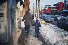 Treating Their Valentines Right (cookedphotos) Tags: flowers winter roses snow toronto cute love walking fuji father streetphotography son valentine valentinesday chivalry project365 23mm xt1 365project p3652015