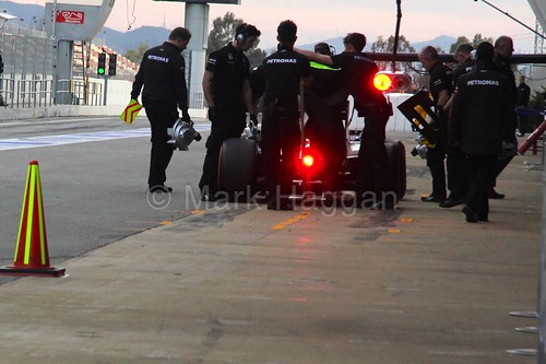 Lewis Hamilton during a pit stop in Formula One Winter Testing 2015