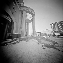 "Novosibirsk Theater ""Red Torch"" (anyurtan) Tags: city bw 120 film analog square russia pinhole siberia rodinal novosibirsk obscura fomapan"