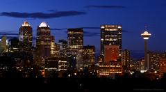 Blue City (Witty nickname) Tags: city longexposure blue calgary skyline night buildings twilight nikon cityscape dusk alberta calgarytower thebluehour calgaryskyline encana nikond800 encanatowerthebow