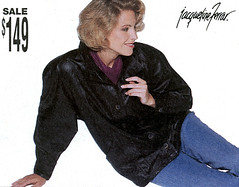 1995 Holiday Advertisement (cuirbouilli2) Tags: woman leather fashion scans coat jacket 1990s