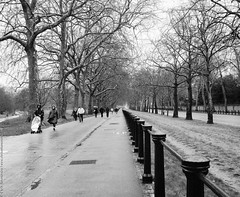 I quite miss this city and its weather sometimes... (chris athanasiou) Tags: street uk trees light people blackandwhite bw london nature clouds contrast streetphotography symmetry