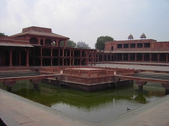 India. Mogul architecture at its best. The abandoned Mogul  or Mughal Fatehpur Sikri Palace near Agra. (denisbin) Tags: indian palace moghul fatepursikri fatepursikripalace garden ponds pavilion fatehpursikri mogul