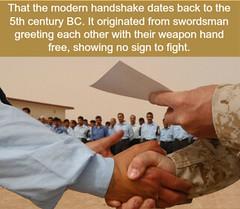 Origin of the handshake (PuzzleCubes) Tags: funfact interesting facts puzzlecubesworld handshake modern swordsman greeting weapon fight