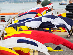 Flying Flags - Hayling Ferry Launch Party (fstop186) Tags: flying flags red blue yellow breeze wind pontoon jetty