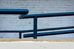 Parallel (JeffStewartPhotos) Tags: walkingwithmaryc walkingwithandreas wall handrail queenstreet queenstreeteast riverdale toronto ontario canada parallel parallels blue