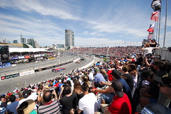 Honda Indy Toronto - view from the grandstand (Richard Wintle) Tags: toronto honda cntower indy fans verizon grandstand indycar exhibitionplace turn9 streetsoftoronto enercarecentre