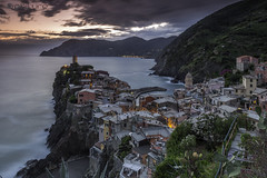 Vernazza (Pureo) Tags: longexposure sunset sea sky italy seascape church canon landscape rocks dusk cinqueterre vernazza twighlight canon6d