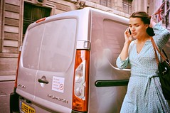 She Was Just Another One (Steve Lundqvist) Tags: london londra street woman phone cell donna dress busy flag union jack car van england inghilterra uk english