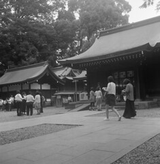 In the precincts of a shrine (odeleapple) Tags: bw mamiya film shrine precinct 65mm c330 mamiyasekor neopan100acros