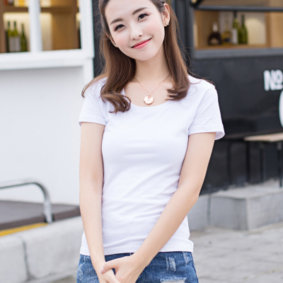 Simple shirt for summer dress solid color Korean coat half sleeve slim Han Fan white female summer short sleeve t shirt