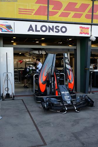 McLaren garage and pits