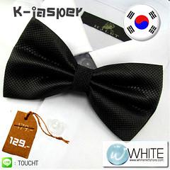 K-Jasper - หูกระต่าย สีดำ ผ้าเนื้อลาย สไตล์เกาหลี (BT020)