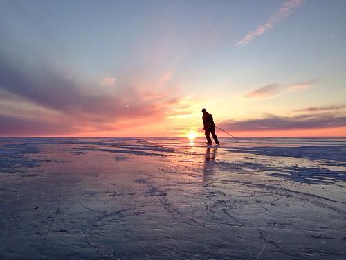 Skating on sea ice.