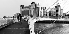 Gateshead Millennium Bridge and Baltic Gallery - Black and White (Scotty H..) Tags: newcastle crossing millenniumbridge gateshead newcastleupontyne rivertyne spanning gatesheadmillenniumbridge balticgallery balticflourmill balticcentreforcontemporaryart