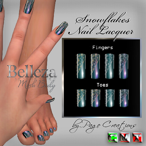 ღ ♡ Nail Lacquers For Belleza ♡ ♡ ღ Snowflakes Teal by Page Creations™