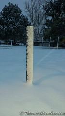 February 25, 2015 - Winds make snow stick to Thornton's snow board. (ThorntonWeather.com)