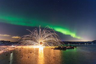 Aurora and steel wool
