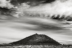 Imperfect Cinder Cone (Robert_Brown [bracketed]) Tags: california ca blackandwhite bw white snow black monument clouds lava cone beds national ash cinder lavabedsnationalmonument cindercone firelookout klamathfalls tulelake