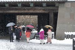 Holiday walk (Igor Voller) Tags: wood people snow castle japan stone wall umbrella gate colorful falling colourful snowfall umbrellas kanazawa ishikawa