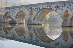 Pont Vieux - Old Bridge - at Beziers (Paul in Japan) Tags: bridge france reflection explore languedoc beziers herault pontvieux