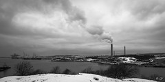 Hisingen, from Roda Sten (carloprisco) Tags: blackandwhite bw snow clouds river gteborg gothenburg sten roda