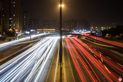 Busy Busy!! (lightexperiment) Tags: road red white lightpainting traffic motorway busy kuwait salmiya lightstreams 5thringroad fahadjameel roadno5