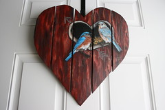 """Bluebirds on a red barn wood heart wall painting by sherrylpaintz (sherrylpaintz) Tags: original red usa holiday love nature floral barn woodland painting design colorful artist heart natural nest folk ooak decorative wildlife country victorian straw birdhouse style wallart valentine american perch romantic chic hay custom majestic acrylicpainting bluebirds whimsical treasures patina realism primitive décor realistic cherish """"red art"""" """"bird artist"""" """"american wood"""" style"""" """"hand """"weathered painting"""" """"wall """"wildlife """"folk malebluebird """"primitive femalebluebird painted"""" chic"""" """"shabby """"decorative barn"""" """"bluebird sherrylpaintz """"decorating """"distressed"""