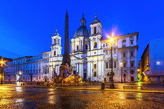 Piazza Navona, Rome (Nejdet Duzen) Tags: street city blue sky italy sculpture streets rome roma art history tourism church monument water fountain statue architecture night square italian ancient europe roman famous capital culture landmark historic obelisk piazza bernini navona