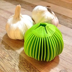 "I love to try our kitchen gadgets. We're in the farmhouse kitchen making spaghetti and smoked mozzarella stuffed meatballs with heirloom tomato sauce. This little garlic peeler is about to get a real workout.  What's for dinner at your house?  #food #cook • <a style=""font-size:0.8em;"" href=""https://www.flickr.com/photos/54958436@N05/16451094556/"" target=""_blank"">View on Flickr</a>"