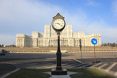 Palace of the Parliament, Bucharest (Tristan Earl) Tags: clock architecture romania bucharest neoclassical casapoporului palaceoftheparliament ancapetrescu nicolaeceauescu
