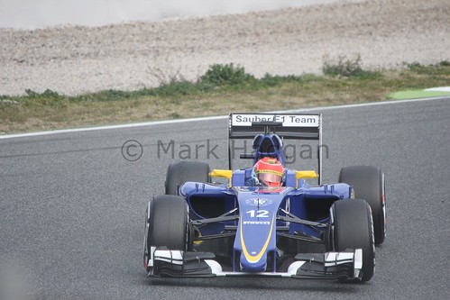 Felipe Nasr in his Sauber in Formula One Winter Testing 2015