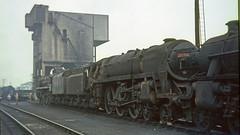70012 Carlisle shed (12A) 24th September 1966 .    South Yorkshireman No.6 rail tour  [photo 3 of 7] (Brit 70013 fan) Tags: br britishrailways british railways britannia 70012 johnofgaunt 70046 anzac carlisle kingmoor 12a shed standard 1966 southyorkshireman steam engine damaged accident