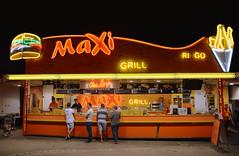 Maxi Grill (sigi-sunshine) Tags: food orange restaurant neon fastfood pommes frenchfries explore snack hamburger streetfood ringo onexplore explored