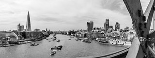 Panorama view from Tower Bridge's High-Level Walkways, London, UK