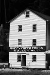Old Mill (tomcanon68) Tags: canon40d canon canon100mm28ismacro canon100mmmacro old bw blackandwhite monochrome mill muddycreekforks pennsylvania