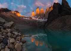 Awe | Mirador Las Torres, Patagonia (v on life) Tags: torresdelpaine wtrek towers chile patagonia miradorlastorres lastorres sunrise light clouds reflections mountains peaks rocks panorama panoramic pano granite