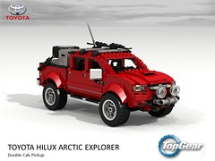 Toyota Hilux - TopGear Arctic Special (lego911) Tags: foitsop toyota hilux 4x4 4wd an10 pickup ute utility dualcab truck arctic pole polar explorer top gear topgear special 2007 2000s auto car moc model miniland lego lego911 ldd render cad povray iceland ice snow clarkson lugnuts challenge 105 thegreatoutdoors great outdoors