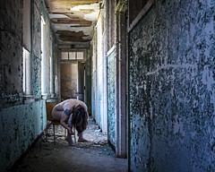 Nothing Left to Give (sadandbeautiful (Sarah)) Tags: woman selfportrait abandoned me female self hospital nj hallway urbex