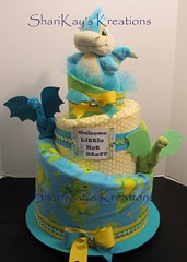 Dragon Topsy Turvy Diaper Cake (Sharikay's Kreations (Formerly Shari's Diaper Cake) Tags: diapercake dragon babygift babyshower topsyturvy