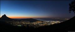 Nightfall over Cape Town (Rob Millenaar) Tags: longexposure panorama night landscape southafrica evening scenery capetown citylights lionshead signalhill