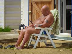 Soaking Up The Sun (Rob Jennings2) Tags: brown sun big isleofwight sunbathing bigguy sandown iow